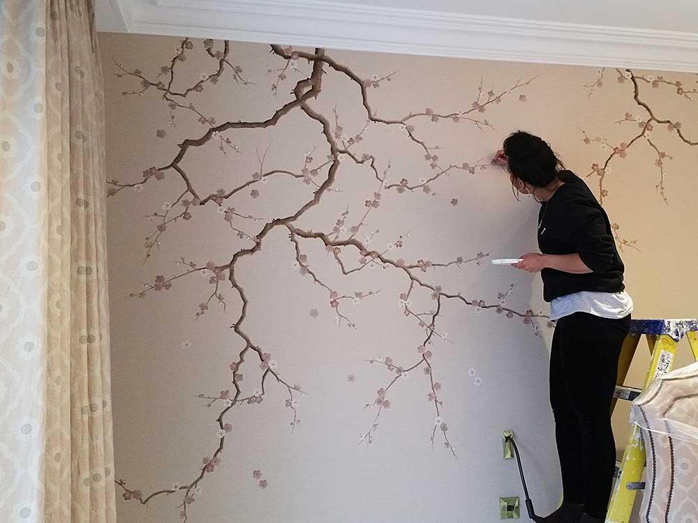 Henry Van Der Vijver Cherry Blossom Mural London